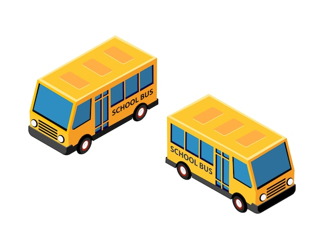 Isometric school bus urban infrastructure