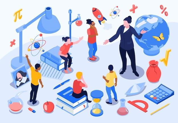 Изометрическая школьная образовательная композиция с иконами канцелярских товаров с человеческими персонажами