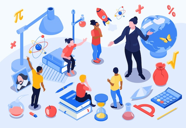Isometric school education composition with icons of stationery goods with human characters