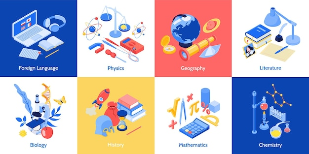 Концепция дизайна изометрического школьного образования с набором квадратных композиций