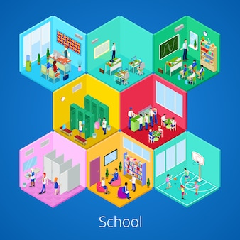 Isometric school interior with lecture hall, library, dining room and classroom illustration