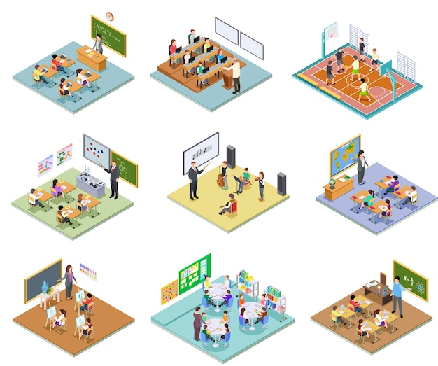 Isometric school rooms set