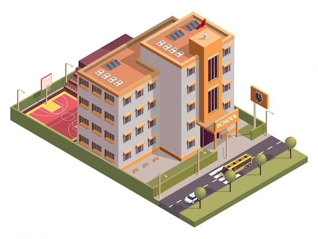 Isometric school skyline building with clock board and basketball ground along vehicle street .