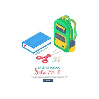 배낭, 펜, 지우개, 책, 노트북 및 통치자로 설정된 아이소 메트릭 학교 용품.