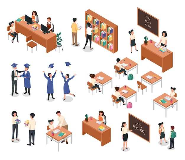 Isometric school teacher on lesson with students pupils with backpacks in classroom vector set