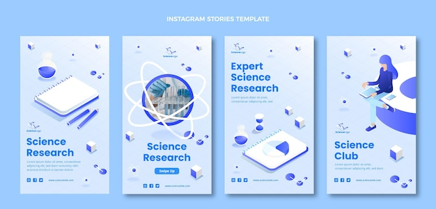 Isometric science instagram stories collection