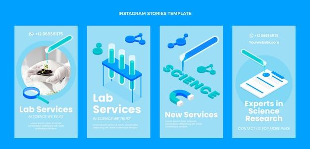 Isometric science instagram stories template