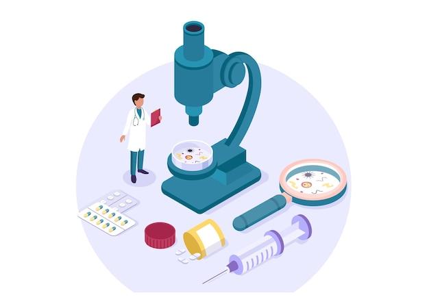 Изометрическая научная лаборатория эксперимент исследования фармацевтическая химическая концепция