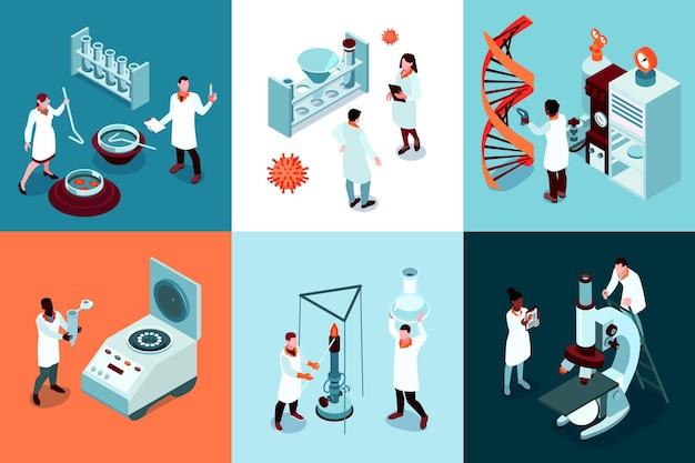 Концепция дизайна изометрической научной лаборатории с набором квадратных композиций