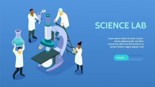 Isometric science laboratory horizontal banner