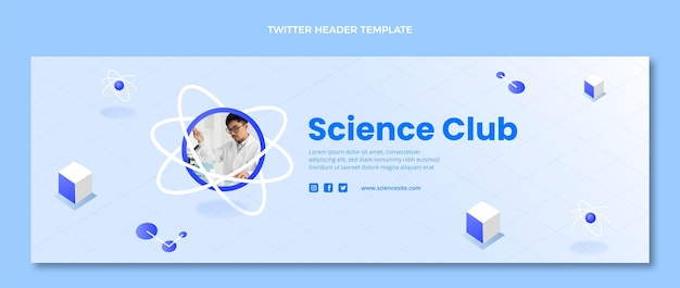 아이소메트릭 과학 트위터 헤더 템플릿