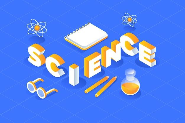 Concetto di parola di scienza isometrica con raccolta di elementi