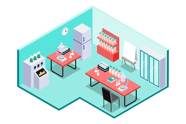 Isometric scientific laboratory room