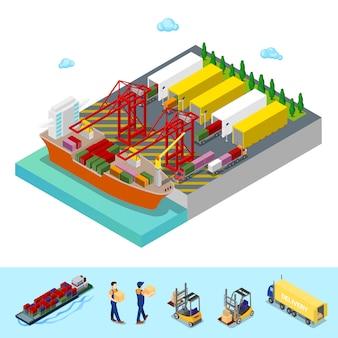 Изометрические морской грузовой порт с грузовой контейнеровоз и грузовых автомобилей. плоская 3d иллюстрация