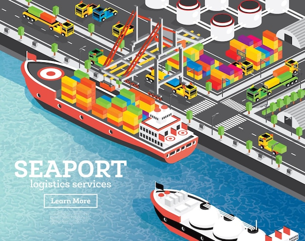 Isometric sea port with container ship. gantry crane loads cargo on ship. port infrastructure. lng storage tank. warehouse system.