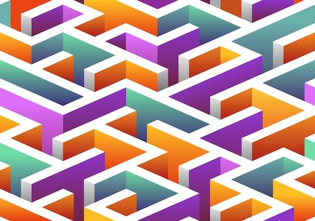 Isometric seamless maze pattern.