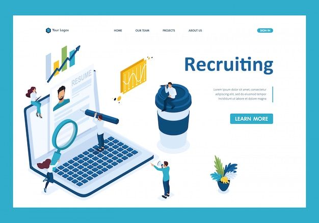 Isometric search for employees on the internet, recruiting concept landing page
