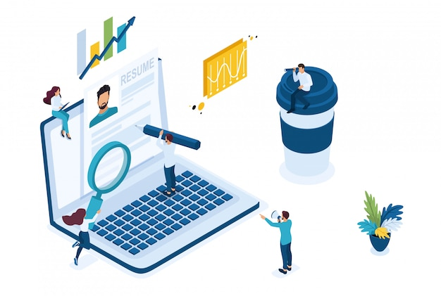 Isometric search for employees on the internet, recruiting concept.