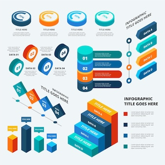 Isometric secuencial data visualization infographics