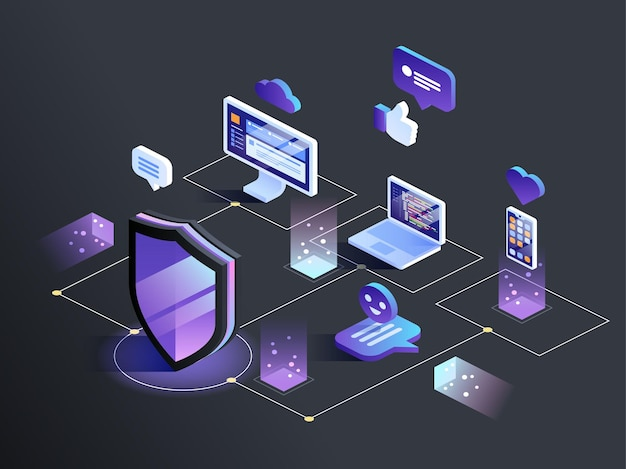 Изометрические концепции защиты данных безопасности. сервер пк монитор планшетный телефон ноутбук в облачной сети. векторная иллюстрация.