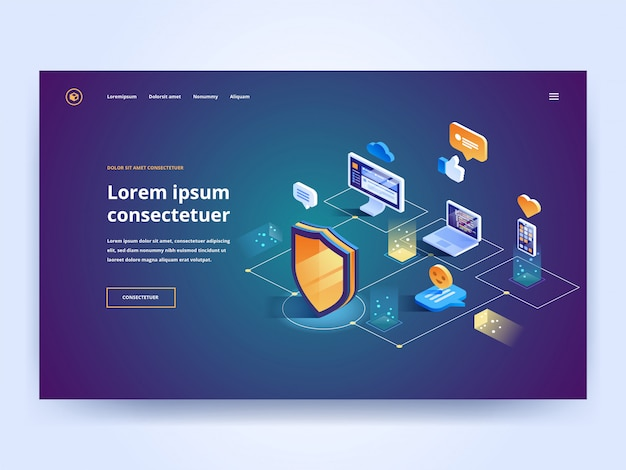 Isometric security data protection landing page template