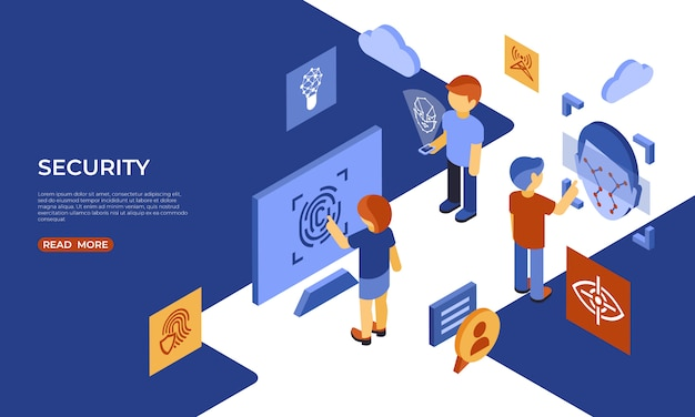 Isometric security technology and scanning infographics