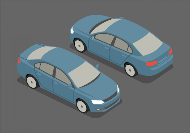 Isometric sedan vector illustration