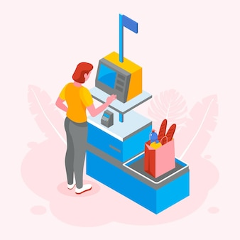 Isometric self-service cashier illustration