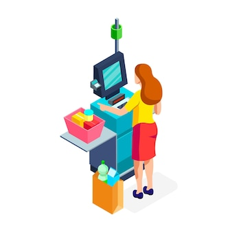 Isometric self-service cashier