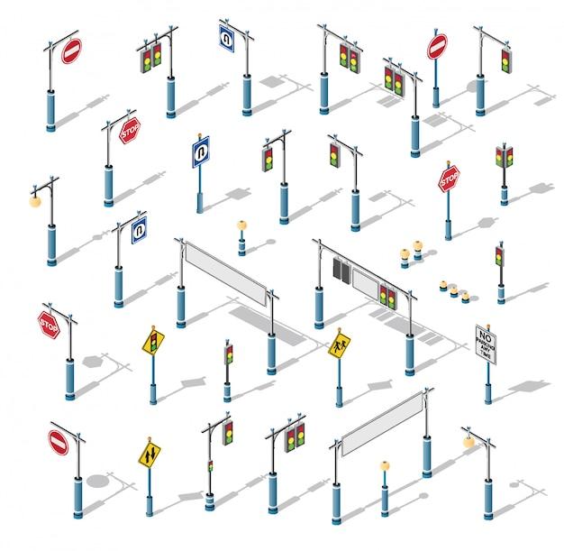 The isometric semaphore streetlight set