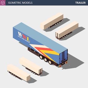 Isometric semi trailer. clean model in four dimensions.