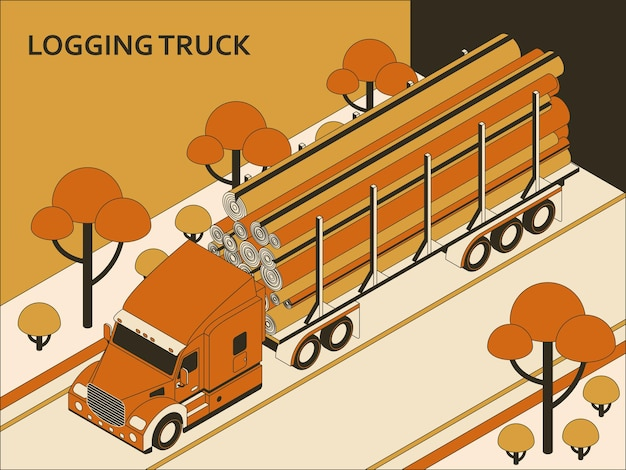 Isometric semi truck with orange cab transporting commercial cargo moving on the highway