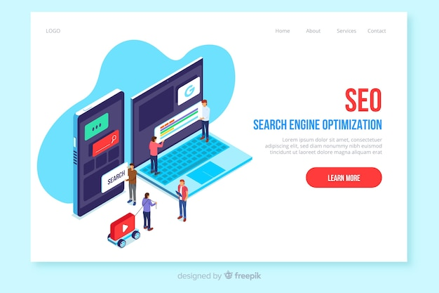Isometric seo landing page template