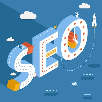 Isometric seo, success internet searching optimization process illustration on the sky background