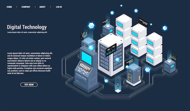 Isometric server room and big data processing concept, datacenter and data base icon