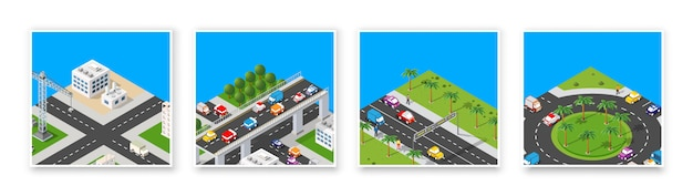 Isometric set 3d module block district part