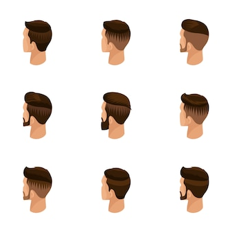 Isometric set of avatars, men's hairstyles, hipster style