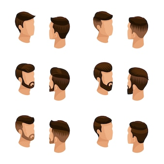 Isometric set of avatars, men's hairstyles, hipster style.