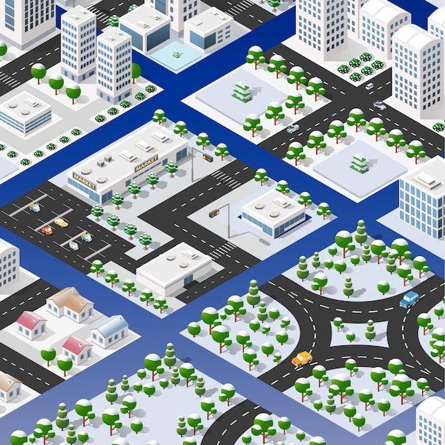Isometric set of blocks module of areas of the city construction of the perspective city of design of the urban environment.