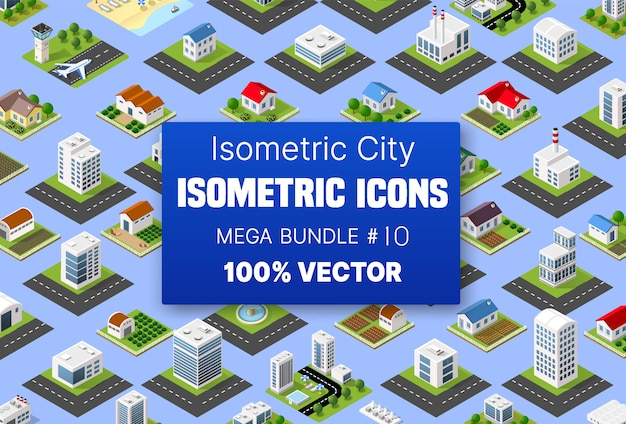 Isometric set building houses icons of blocks module