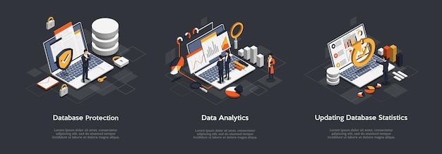 Isometric set of business database protection Premium Vector