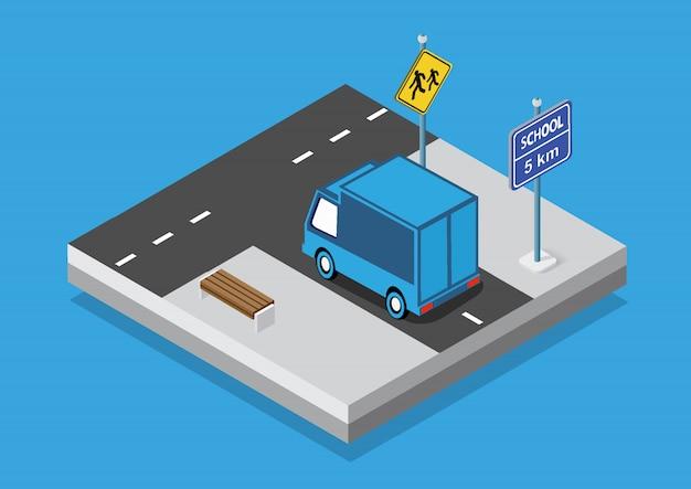 Isometric set cars and trucks transport