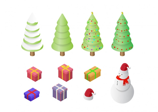 Isometric set of christmas holiday decoration icons set isolated  illustration