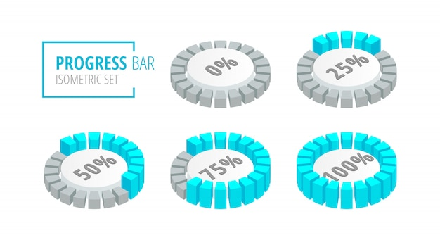 Isometric set of circular progress loading bar isolated on white