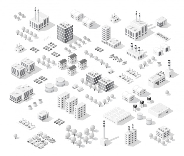 Isometric set city with skyscrapers