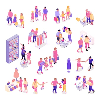 Isometric set of colorful characters with families shopping for clothes shoes interior objects isolated 3d vector illustration