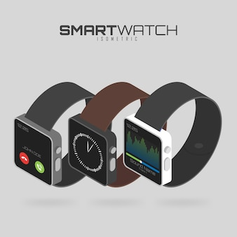 Isometric set of different types of smart watches.