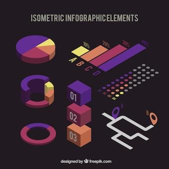Set isometrica di elementi per infografica