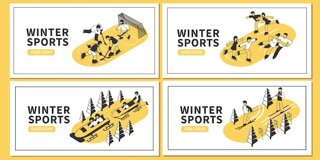 Isometric set of four horizontal banners with winter sports hockey figure skating skiing bobsleigh competitions 3d isolated