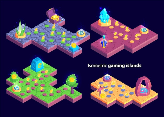Isometric set of four isolated gaming levels with island shaped maps and plants with treasure goods